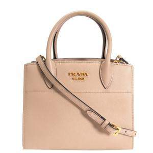 Prada Beige Saffiano & City Calf Leather Mini Bibliothèque Tote Bag
