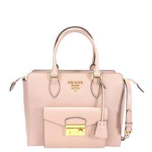 Prada Cipria Saffiano City Calf Leather Tote Bag