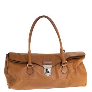 Prada Brown Leather Easy Foldover Pushlock Satchel