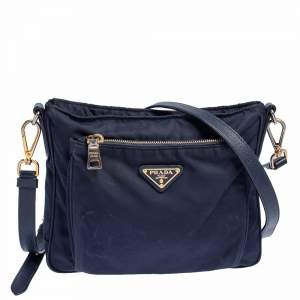 Prada Navy Blue Tessuto Nylon and Leather Shoulder Bag