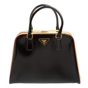 Prada Black/Yellow Saffiano Vernice Leather Pyramid Frame Satchel