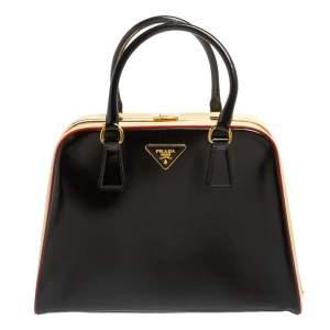 حقيبة برادا جلد سافيانيو فيرنيس أسود/أصفر بإطار