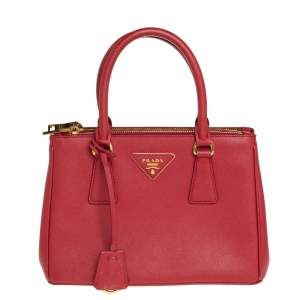 Prada Red Saffiano Lux Leather Mini Galleria Tote