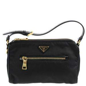 Prada Black Nylon Baguetter Bag
