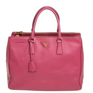 Prada Pink Saffiano Lux Leather Large Galleria Tote