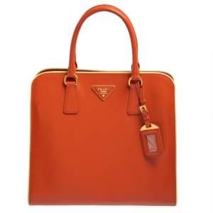 Prada Orange Saffiano Vernice Leather Tote
