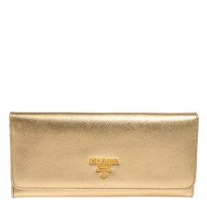 Prada Metallic Gold Saffiano Leather Logo Flap Continental Wallet