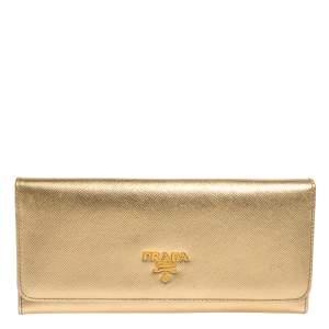محفظة كونتينتال قلاب شعار جلد سافيانو ذهبية ميتالك