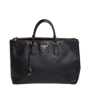 حقيبة يد برادا غاليريا كبيرة جلد سافيانو لوكس أسود