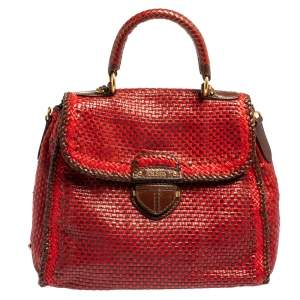 Prada Red/Brown Woven Goatskin Leather Madras Top Handle Bag