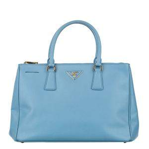Prada Blue Saffiano Leather Galleria Tote Bag