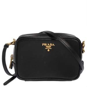 Prada Black Saffiano Lux Leather Mini Camera Crossbody Bag