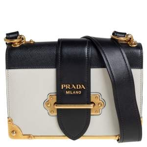 Prada Black/White Leather Cahier Flap Shoulder Bag