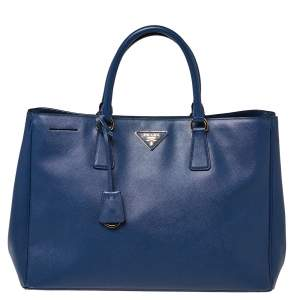 Prada Blue Saffiano Lux Leather Large Gardener's Tote