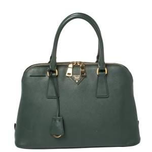Prada Green Saffiano Lux Leather Medium Promenade Satchel