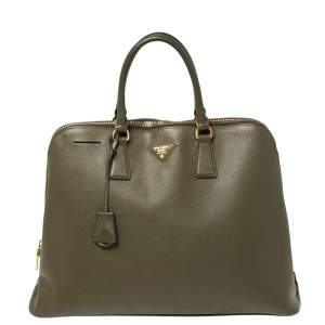 Prada Olive Green Saffiano Lux Leather Promenade Satchel