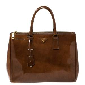 Prada Brown Spazzolato Patent Leather Large Galleria Tote