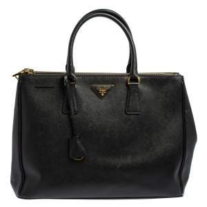 Prada Black Saffiano Leather Double Zip Tote