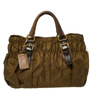 Prada Olive Green Nylon and Leather Gathered Tote
