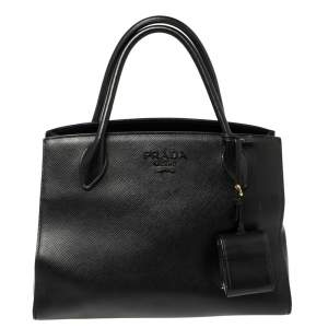 Prada Black Saffiano Lux Leather Monochrome Tote