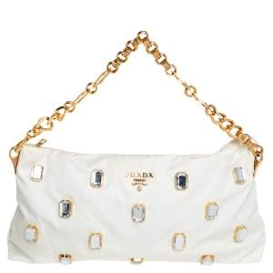 Prada White Tessuto Nylon Jeweled Clutch