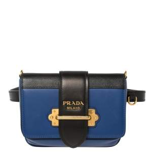 Prada Blue/Black Leather Cahier Belt Bag