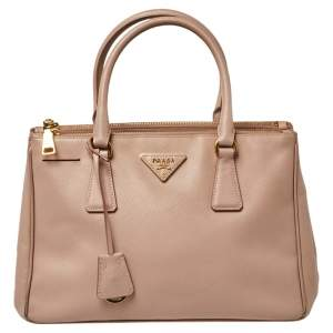 Prada Beige Saffiano Lux Leather Small Galleria Tote