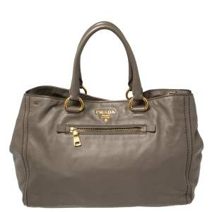 Prada Grey Leather Shopper Tote