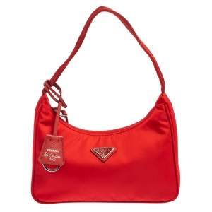 Prada Red Tessuto Nylon Re-Edition 2000 Baguette Bag