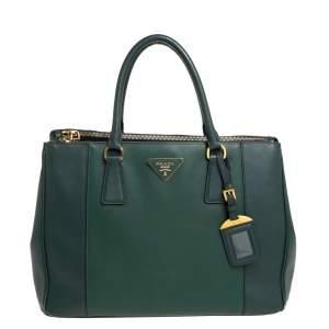 Prada Green Bicolor Saffiano Lux Leather Medium Galleria Tote