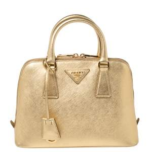 Prada Gold Saffiano Lux Leather Small Promenade Satchel