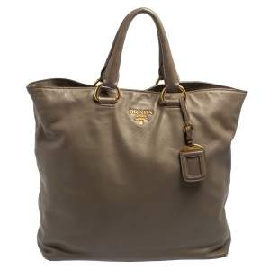 Prada Grey Soft Calf Leather Shopping Tote