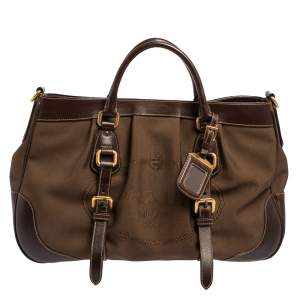 Prada Brown Canvas and Leather Canapa Tote