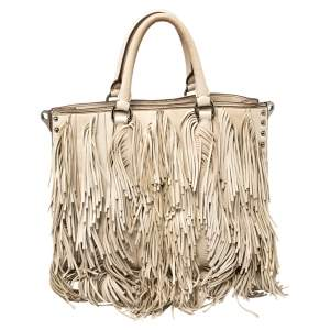 Prada Beige Leather Small Fringe Tote