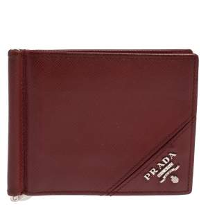 Prada Red Saffiano Lux Leather Money Clip Bifold Wallet