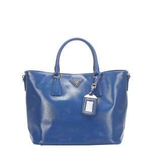 Prada Blue Leather Galleria Tote Bag
