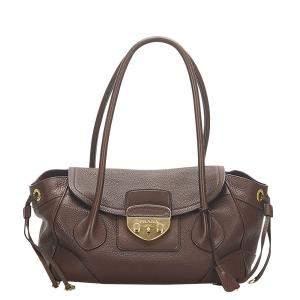 Prada Brown Leather Sound Lock Shoulder Bag
