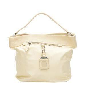 Prada Brown/Beige Leather Tessuto Shoulder Bag