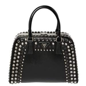 Prada Black Saffiano Vernic Patent Leather Studded Pyramid Frame Satchel