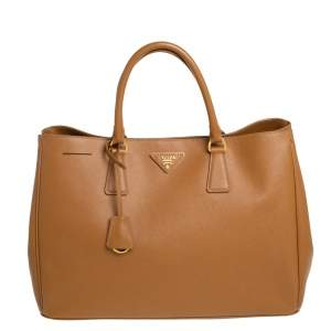Prada Tan Saffiano Lux Leather Large Gardener's Tote