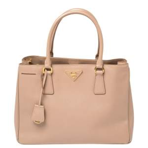 Prada Nude Beige Saffiano Lux Leather Middle Zip Tote