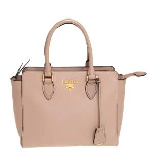Prada Beige Saffiano Lux and Soft Leather Small Tote