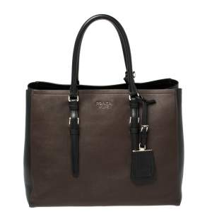 Prada Brown/Black City Calf Leather Double Handle Tote