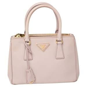 Prada Pink Saffiano Lux Leather Mini Galleria Tote