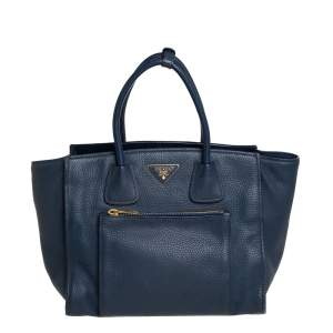 Prada Navy Blue Vitello Daino Leather Front Pocket Wing Tote