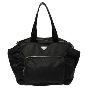 Prada Black Tessuto Nylon Diaper Shoulder Bag