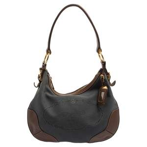 Prada Blue/Brown Canvas and Leather Hobo