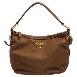 Prada Brown Nylon and Leather Trim Hobo
