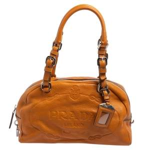Prada Amber Vitello Daino Leather Logo Embossed Satchel