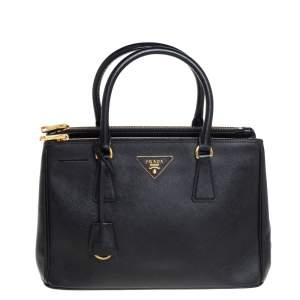 Prada Black Saffiano Lux Leather Small Double Zip Tote